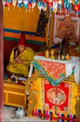 The monastery's superior monk awaiting the festivities.