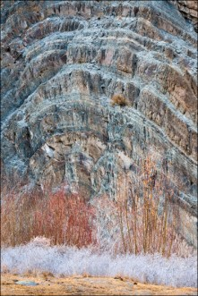 Layers of beautiful patterns and textures on the mountain.