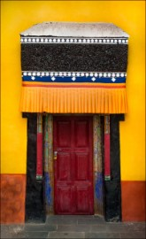 A colorful door at the 15th Century Thicksay Manastery in Ladakh, India.
