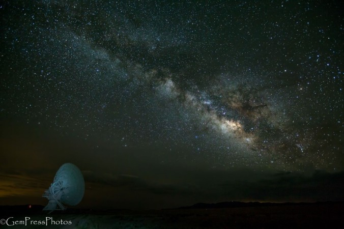 VLA, Milky Way, lighting in the distance and the radio telescope for context and foreground.