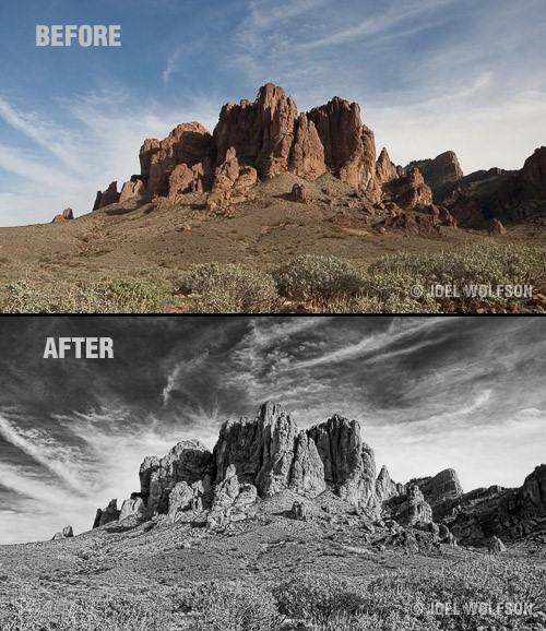 In 8 minutes using Topaz Adjust, Clarity and BW Effects I converted a raw capture and created a black and white image with depth, shadow detail and accentuated clouds for drama in the sky. The equivalent in Photoshop requires advanced expertise and takes about an hour.
