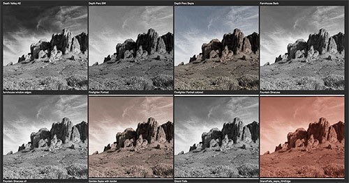 This is a preview mode for looking at a collection of presets in Topaz B&W Effects. As you scroll you see dozens more options. There are also numerous collections of these presets, all of which offer one-click processing of your image.