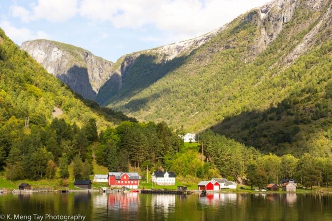 Village on the side of Nærøyfjord